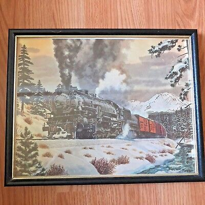Fogg Train Print 11x14 VTG Framed Southern Pacific Lines 5036 Winter Snow Scene
