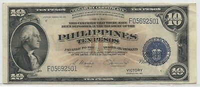 1944 ND $10 Silver Treasury Certificate * Philippines Victory Ten Pesos Note