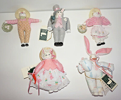 5 Handmade Collectable Bunny Dolls 'Just Ducky' 3 Have Original Labels