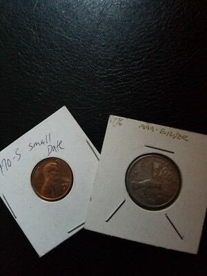 1970-s Small Date Penny with 1776 2gr Silver Coin
