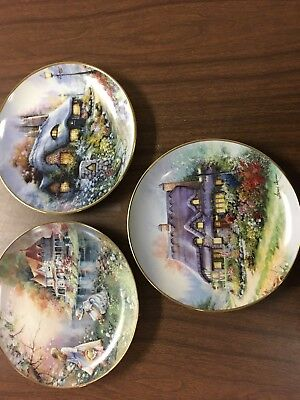 Franklin Mint Plates-Gathering Wildflowers-The Cottage On Daisy Lane-Lilac Bend