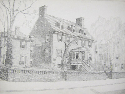 "Antique Don Swann ORIGINAL ""Paca House"" Annapolis MD Signed LE Etching #20 yqz"