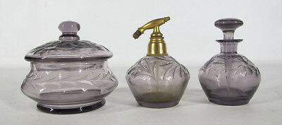 Antique Set Etched Amethyst Glass Perfume Scent Bottles & Covered Vanity Jar yqz