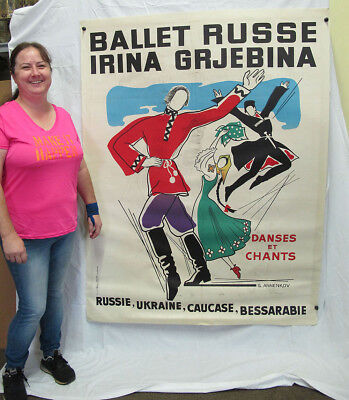 GIANT! Vintage Ballet Russe Russian Dance Georges Annenkov Lithograph Poster yqz