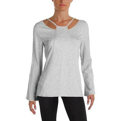 Nanette Lepore Womens Gray Mesh Inset Cut Out Pullover Top Athletic L BHFO 6831
