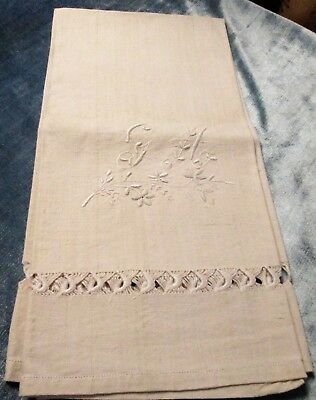 Antique Italian Linen Bath Towel Ornamental Embroidery G A Monogram FREE SHIP