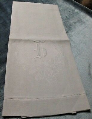 Antique Large Nubby Linen Towel h Monogram in Laurel Wreath Hemstitched