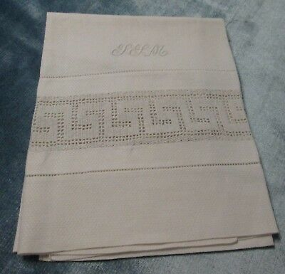 Antique Large Nubby Linen Towel S S M Monogram Crocheted Greek Key Inset