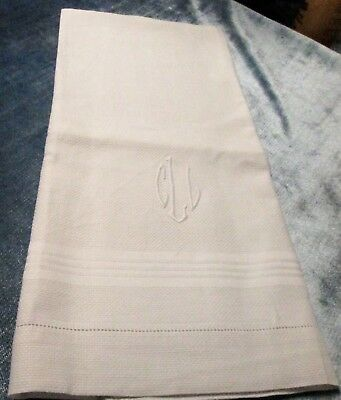 Antique Nubby Linen Bath Towel C L L Monogram Satin Striping FREE SHIPPING