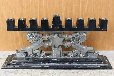 Rare Art Deco Judaica Menorah Lion Of Judah Cubist Sculpture Commandments Tablet