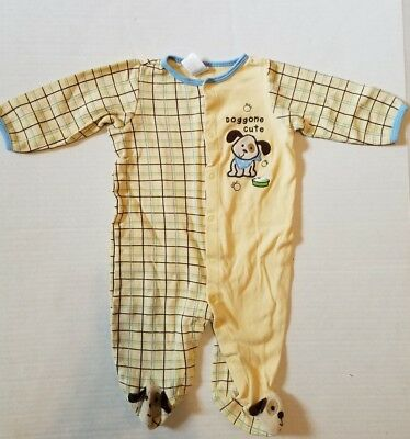 Baby Essentials Yellow Puppy Doggone Cute Footed Long Sleeve Pajamas 6-9 Months