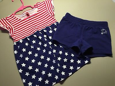 Girls Size 4T 4th of July Tee Shirt/shorts Red white blue stars Jumping Beans