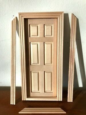 Doll House Wooden Panelled Door- 1:12th- New & Quality!