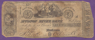 Hudson River Bank, 1852 $5 Dollars, Hudson New York, NY, True Auction,No Reserve