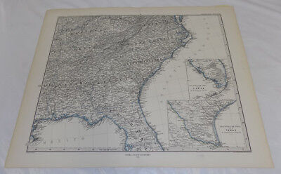 1880 Antique Map//SOUTH EASTERN UNITED STATES