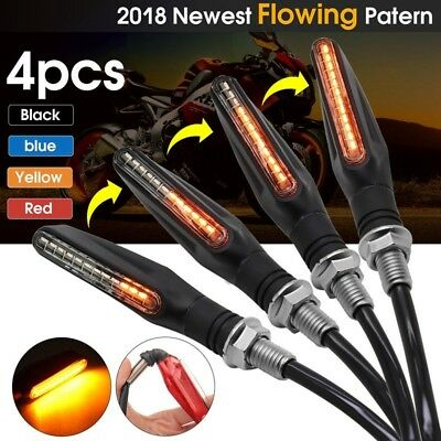 4X Motorcycle LED Turn Signal Lamp Sequential Flowing Indicator Light Amber New