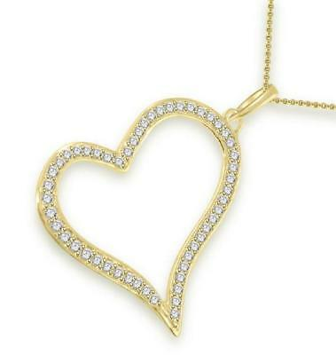 Natural Diamond Heart Pendant Necklace VS1 F 3/4Carat 14Kt Solid Gold 1.60 Inch