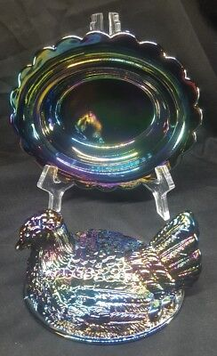 Vintage MOSSER Carnival Glass Amethyst HEN ON NEST Candy Dish! MINT!