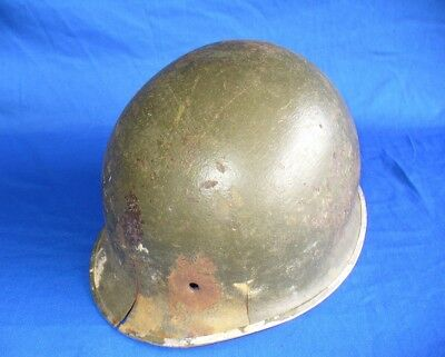 Ww2 M1 Steel Helmet Battle Damage Bullet Hole Front Seam Pot Swivel Swb Named Id