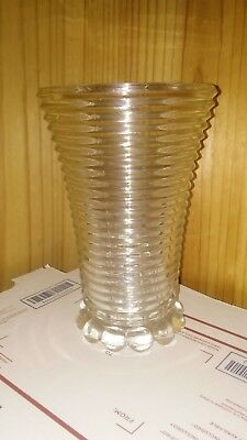 "Nice Manhattan Horizontal Ribbed 8"" Vase Art Deco Clear Vintage Depression Glass"