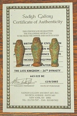 3 Egyptian Faience Ushabti Late Kingdom - 663-525 Bc, Sadigh Gallery Certified