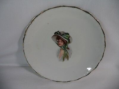 Antique Gibson Girl Plate Carnation McNicol, Compliments Household Outfitting