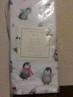 1 Pottery Barn Kids Icy Penguin Organic Flannel Crib Fitted Sheet NIP Winter