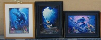 3 lot Christian Riese Lassen Large Original Color Litho Giclee Signed OCEAN Art
