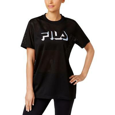 Fila Womens Liona Black Mesh Logo Fitness Pullover Top Athletic L BHFO 5662