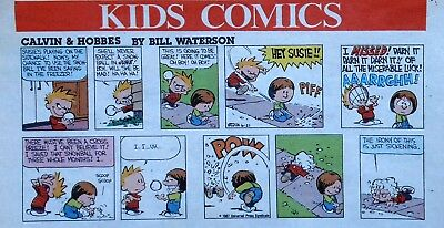 Calvin and Hobbes by Bill Watterson - lot of 27 Sunday comic pages - late 1987