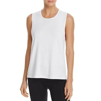 Onzie Womens White Twist Back Open Back Tank Top Muscle Tank Shirt O/S BHFO 2284