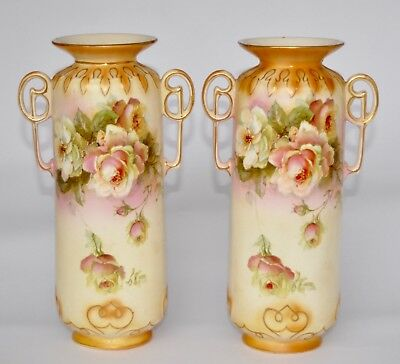 Attractive Pair of Vintage Mantle Vases - Blush with Roses 23.3cm - #A224