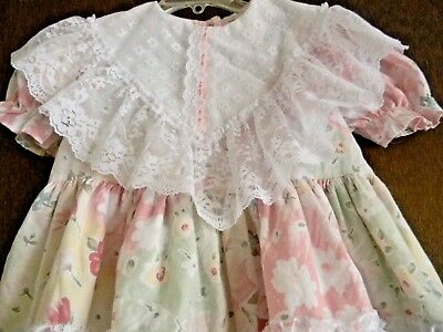 Vinage Girl's size 4 lace floral pastel back ties cotton poly FANCY GIRL dress