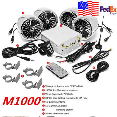Silver Bluetooth 4 Speaker Motorcycle Stereo Audio Amplifier System  1000W