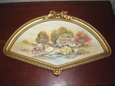 Vintage Home Interiors Country Autumn Scene Print in Fan Shaped Frame 1984