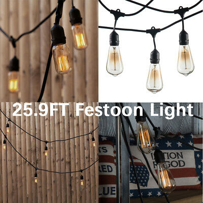 25.9 FT Outdoor Festoon Light Patio String Lights Hanging E27 Screw Sockets Xmas