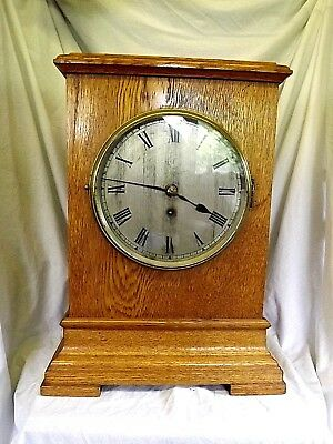 "Golden Oak Chain Fusee Bracket Clock By ""Gillet & Johnstone""."