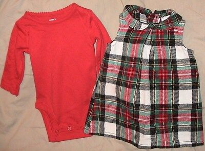 Carters Plaid Sleeveless Jumper With Matching Red Bodysuit-Size 12 Months-Nwt