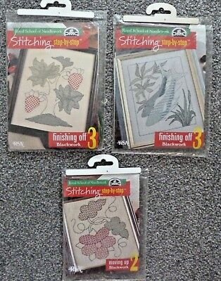 3 X Dmc,royal School Of Needlework Blackwork Kits