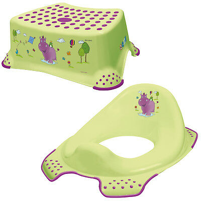 Keeeper 2-teiliges Set HIPPO Schemel einstufig & Toilettensitz lime green