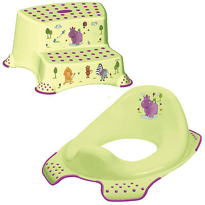 Keeeper 2-teiliges Set HIPPO Schemel zweistufig & Toilettensitz lime green