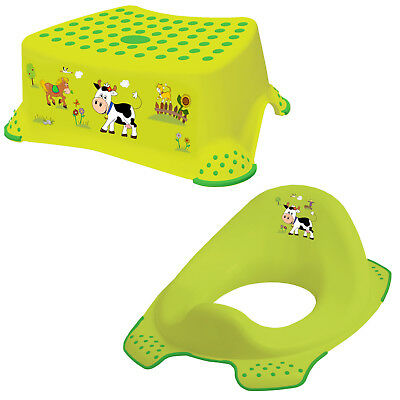 Keeeper 2-teiliges Set FUNNY FARM Schemel einstufig & Toilettensitz grasgrün
