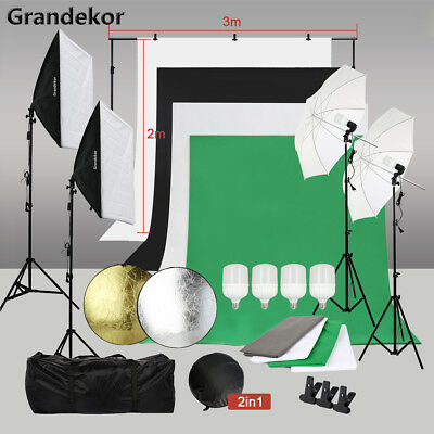 Photo Studio Softbox Lights Background Kit 4 Backdrops Photography Reflector