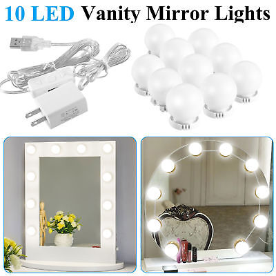 DIY 10LED Dimmable Vanity Mirror Lights Kit Bulbs for Makeup Hollywood Mirror