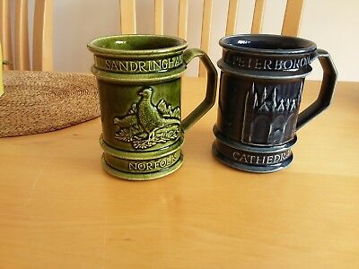 Two Holkham Pottery Mugs. Sandringham & Peterborough Cathedral