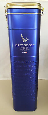 Grey Goose Vodka Collectible Blue Tin with Hinged Lid - Empty