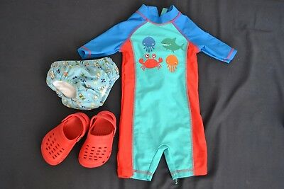 Mothercare baby boy swimming costume swim nappy and pool/beach sandals