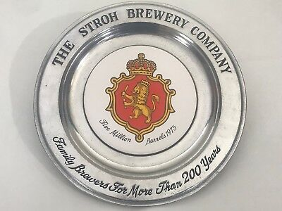 Hanging STROH'S BREWERY Commemorative PEWTER Plate ENGRAVED Letter CERAMIC Inlay
