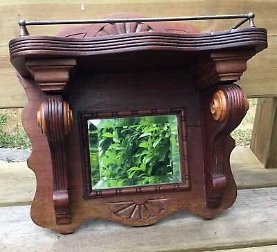 "Old Vintage Antique Carved Wood Wall Shelf With Mirror Approx 14"" x 14"""
