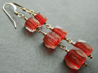 Art Deco Red & Aventurine Cathedral Glass Beads & 14K Rolled Gold Drop Earrings
